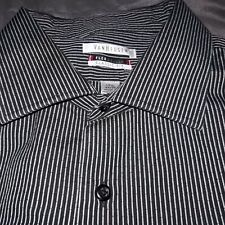 Van Heusen Mens 17 1/2 34/35 Black Stripe Classic Fit Long Slv Button Up Shirt