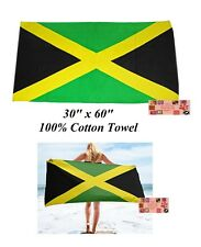 "JAMAICA JAMAICAN Country Flag Banner 30x60"" COTTON BATH POOL BEACH TOWEL WRAP"