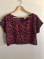 H&M Womens Cropped cute Leopard Print Top Pink Black See Measurements Sz M/L