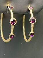 """Ladies  Gold Tone Purple crystal half Hoop Post Pierced Earrings 1.5"""""""