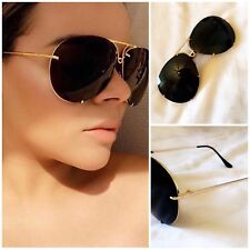 Black & Gold Huge Oversized Aviator Sunglasses Flat Top Reflective Mirrored Luxe