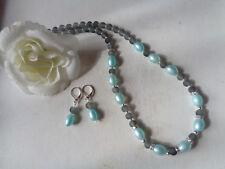 Außergewöhnliche Kette türkis Perlen Strass gefrostete Perlen grau  UNIKAT