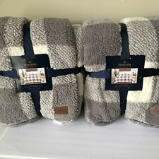 """Lot Of 2 Pendleton  Queen Blanket 98""""X92"""" Rob Roy Gray 100% Polyester NEW"""