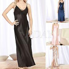 Women Satin Silk Sleepwear Long Bath Robe Lace Nightdress Lingerie Nightwear