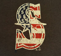 Seattle Mariners USA Flag Logo T Shirt XL X-Large EUC MLB Baseball Gray INV1680