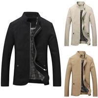 Mens Casual Slim Fit Jacket Collar Zipper Long Sleeve Outwear Autumn Winter Coat