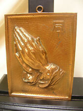Vtg Brass Praying Hands Plaque Made in Austria  Religious Wall Hang