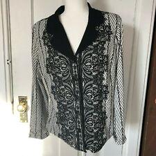 Bob Mackie Wearable Art Blazer Womens Size M Black Knit Jacket A279237