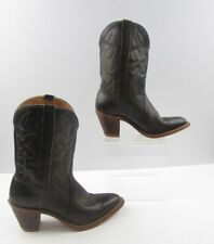Ladies Brown Stacked Heel Leather With Flower Detail Boots Size : 6.5 R