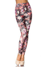 Leggins Leggings Legging Fleurs Flower Motif saumon Multicolore 34 36 38