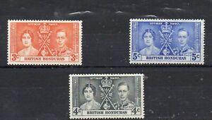BRITISH HONDURAS 1937  KING GEORGE VI CORONATION  LIGHTLY MOUNTED MINT