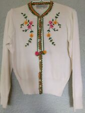 Vintage Balmoral Scotland Floral Embroidered Button Cardigan All Wool Woman's 38