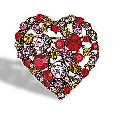 "1.5"" HEART Pin Austrian Crystal Red Gold Pink NEW"