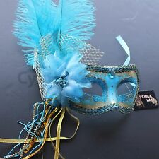 Turquoise Venetian Masquerade Mask w/Ostrich Feathers Party Prom Mardi Gras