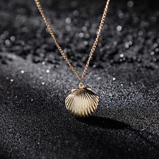 Cute Sea Shell Design Opened Pendant Locket Chain Necklace Mermaid Jewelry