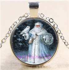 NEW Christmas Photo Cabochon Glass Tibet Silver Chain Pendant Necklace
