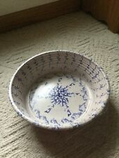 Blue & White Stoneware Spongeware Antique Large Bowl. Excellent.