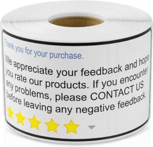 "Thank You for Your Purchase 2""x 4"" Amazon, Walmart, eBay,1200 Labels Ships Free!"