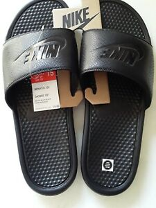 Nike Mens Benassi JDI Just Do It Black leather Slides Size 15 343880-001 sandals