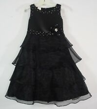 KID K.I.D. Collection Black Formal Satin Organza Tiered Dress Pageant Girls 4
