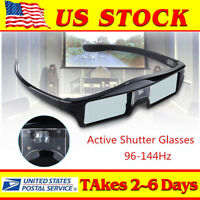 3D DLP-Link 144Hz Active Shutter Glasses 3.7V USB Fr Acer BenQ SAMSUNG Projector