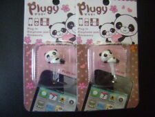New 1 Set of 2 Cute Panda Dust Proof phone plug Cover Charm (3.5mm, Round,smile)