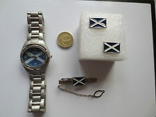 Oval Rugby Football Scotland flag Wrist Watch Tie Pin and Cufflinks set Scotland