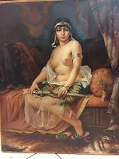 ORIENTALIST OIL PAINTING OF ARAB HAREM LADY WITH YATAGAN BY C.H.CORDIER