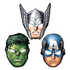 8 x Marvel Avengers Assemble Superhero Paper Party Masks Hulk Thor Cpt America