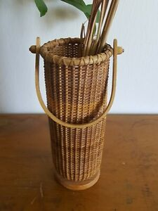 Tall Woven Wicker Basket Vase with Wood Handle, Boho Home Decor