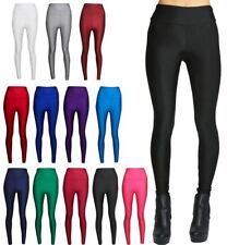 Ladies American High Waisted Disco Leggings Womens Wet Look Shiny Leggings Pants
