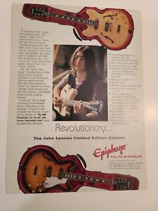 John Lennon Epiphone Guitar Casino Picture Promo AD Revolutionary Beatles