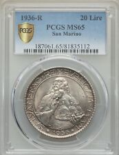 SAN MARINO 1936-R  20 LIRE SILVER COIN, GEM UNCIRCULATED, PCGS CERTIFIED MS65