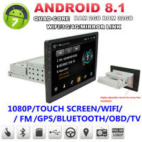 """1Din Adjustable Android8.1 10.1"""" 1080P Touch Screen Quad-core 2+32 GB Car Stereo"""