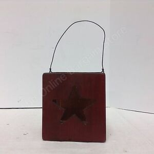 Rustic Wood primitive Square cube candle holder country red star cutout