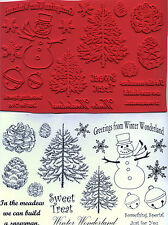unmounted rubber stamps   Evergreen Tree Pinecones Snowman  16 images
