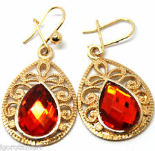 Pair Gold Plated Round Red Dangle Beaded Hoop Boho Earrings Ear Hook Piercings