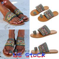 Bohemian Open Toe Fashion Women's Shoes Flat Sandals Espadrilles Beach Slides US