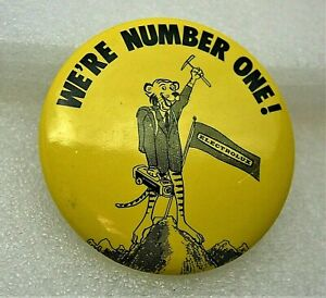 """Vintage Electrolux Vacuum """"We're Number One!"""" Tiger Button Pin New NOS 1970s"""
