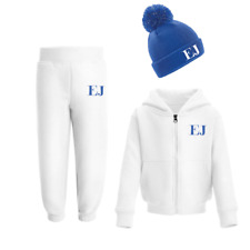 Personalised Initials Tracksuit and Beanie Set Winter Girls Boys Set Blue