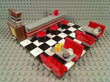 LEGO Classic 50's Style Diner Booths Bar Stools Jukebox Tiled Floor Retro 60's