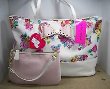 Betsey Johnson 2 in 1 Scallop Bow White & Pink Floral Faux Leather Tote Purse