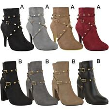 Ladies Womens Ankle Boots Studded High Heels Party Casual Shoes Punk Size Sale