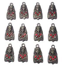 12 Pcs Egyptian Handmade Beads Metal Engraved Pharaoh King Tut 3d Metal 413