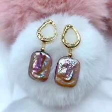 Gorgeous AAA+ natural 14*18MM South sea PURPLE Baroque pearl earrings fashion