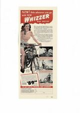 VINTAGE 1946 WHIZZER BIKE MOTOR FARM FAMILY ECONOMICAL CUTE YOUNG WOMAN AD PRINT