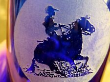 3-16 oz. FAB COBALT BLUE Tumblers Glasses CUT or ENGRAVED HORSE & RIDER!