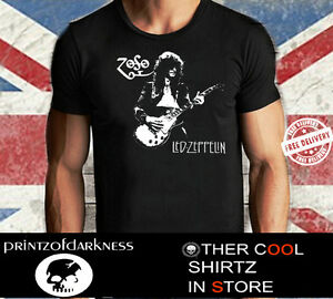 MENS Jimmy Page LED ZEPPELIN Gibson Les Paul BLACK T SHIRT with FREE POST