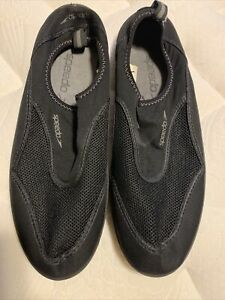 Speedo Mens Size 13 Water Shoes Stretch Black Mesh Athletic Shoes