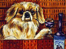 pekingese at the wine bar dog art 8.5x11 glossy photo print